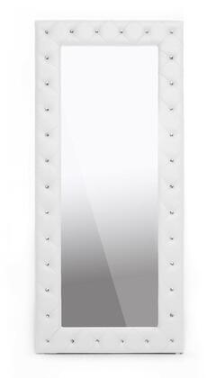 Baxton Studio BBTM27-White-Mirror Stella Modern Floor Mirror with Faux Crystal Tufted  Polyurethane Foam Padding  Rubberwood Frame and Faux Leather