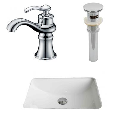 AI-13257 20.75-in. Width x 14.35-in. Diameter CUPC Rectangle Undermount Sink Set In White With Single Hole CUPC Faucet And