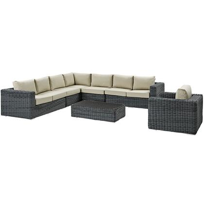 Summon Collection EEI-2014-GRY-BEI-SET 7 Piece Outdoor Patio Sunbrella Sectional Set with Left Arm Facing Loveseat  2 Armless Chairs  Corner Chair  Right Arm