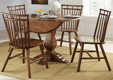 Creations II Collection 38-CD-5ROS 5-Piece Dining Room Set with Drop Leaf Dining Table and 4 Spindle Back Side Chairs in Tobacco