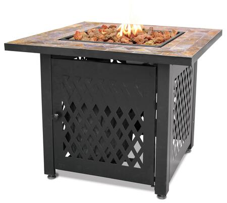 "GAD1429SP 30"" Endless Summer 30"" Outdoor Firepit with Stainless Steel Burner  Electronic Ignition  and Slate Tile Mantel  Up to 30000 BTUs  Liquid"