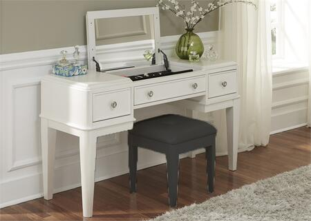 Stardust Collection 710-BR35 53 inch  Vanity with Tapered Legs  Flip-Top Mirror and Black Felt Lined Compartment in Iridescent White