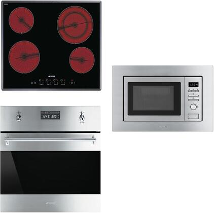 3-Piece Stainless Steel Kitchen Package with S2641TCU 24 inch  Smooth Cooktop  SU45VCX1 24 inch  Single Wall Oven  and MI20XU 24 inch  Built In