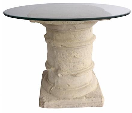 Etruscan Collection TB-G2029-36 36 Dining Table with A Simple Classic Theme  Cast Limestone Construction  Glass Top In Natural Beige