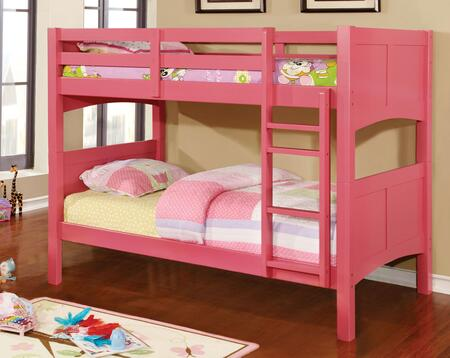Prismo II Collection CM-BK608T-PK-BED Twin Over Twin Size Bunk Bed with Attached Ladder  Guard Rails  Solid Wood and Wood Veneers Construction in Pink