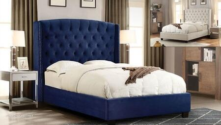 Majestic Collection MAJESTICQUBEDNB Queen Size Sleigh Bed with Nail Head Wing Accents  Button Tufted Headboard  Low Profile and Plush Velvet Upholstery in