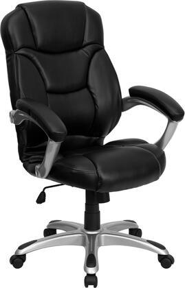 GO-725-BK-LEA-GG High Back Black Leather Contemporary Office