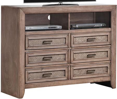 Ireton Collection 26037 47 inch  TV Console with 6 Drawers  2 Open Compartments  Matte Dark Brown Metal Hardware and Lined Drawers in Caramel