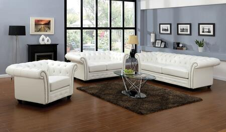 Camden Collection 50165SLCT 6 PC Living Room Set with Sofa + Loveseat +Chair + Coffee Table + 2 End Tables in White
