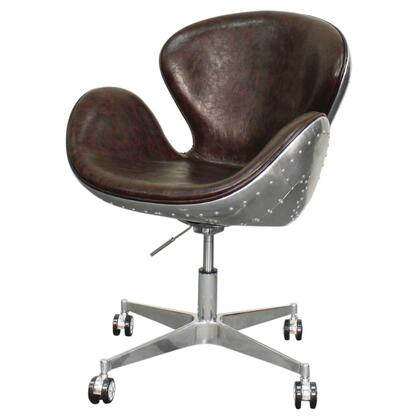 Duval Collection 633035P-D2-AL Office Chair with Aluminum Frame  360 Degree Swivel and PU Upholstery in Distressed