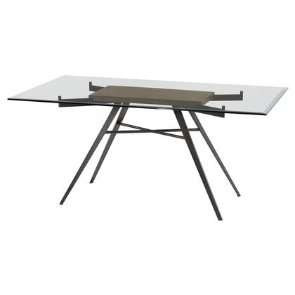 Leah Collection LCLEDIMFGWBS Contemporary Rectangular Dining Table in Mineral Finish with Clear Glass Top and Grey Walnut Wood
