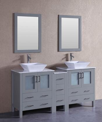 AGR230SQCM1S 72 inch  Double Vanity with Carrara Marble Top  Flared Square White Ceramic Vessel Sink  F-S02 Faucet  Mirror  4 Doors and 7 Drawers in