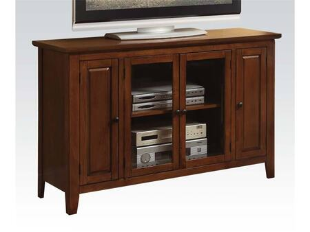 Vida 91012 52 inch  TV Stand with 4 Doors  Adjustable Shelves  Tapered Legs and Metal Hardware in Oak