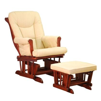 GL7126C Sleigh Glider with Ottoman  Easy to Clean Cushions  Smooth Gliding  and Sturdy Wood Construction  in