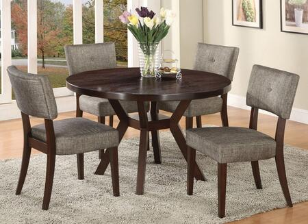 Drake Collection 16250CH 5 PC Dining Room Set with Dining Table + 4 Side Chairs in Espresso