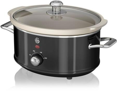 SF17021BN 3.5 Liter Retro Slow Cooker with Tempered Glass Lid  Power Light Indicator and Removable Ivory Crock Pot in