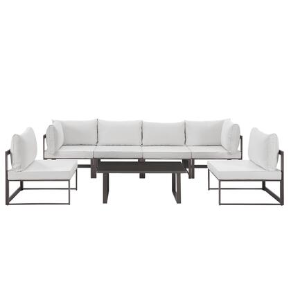 Fortuna Collection EEI-1729-BRN-WHI-SET 7-Piece Outdoor Patio Sectional Sofa Set with 2 Corner Sections  4 Center Sections and Coffee Table in Brown and