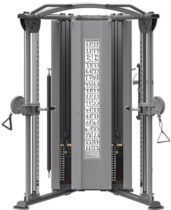 E-4658 Titanium Series Dual Adjustable Pulley Functional Trainer with Two 200 lbs. Weight Stacks and Placards in