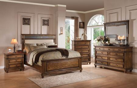 Arielle 24440Q5PC Bedroom Set with Queen Size Bed + Dresser + Mirror + Chest + Nightstand in Slate and Oak