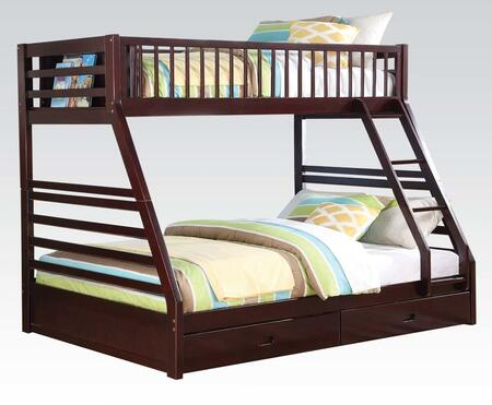 Jason Collection 37425 Twin XL Over Queen Size Bunk Bed with Drawers  Bookcase Storage  Full Length Guardrail and Pine Wood Construction in Espresso