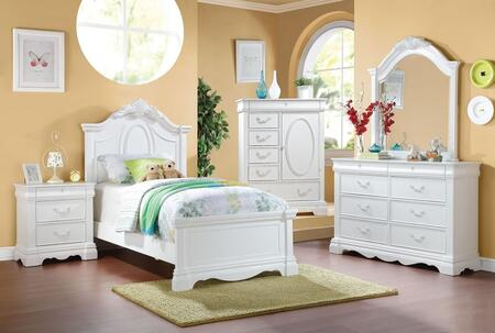 Estrella Collection 30240t5pc Bedroom Set With Twin Size Bed +dresser + Mirror + Chest + Nightstand In White