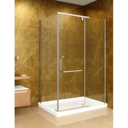 SD975-I-8-L 48 inch  x 35 inch  Shower Enclosure with Shower Base in Chrome Finish with 8mm Glass - Left Hand