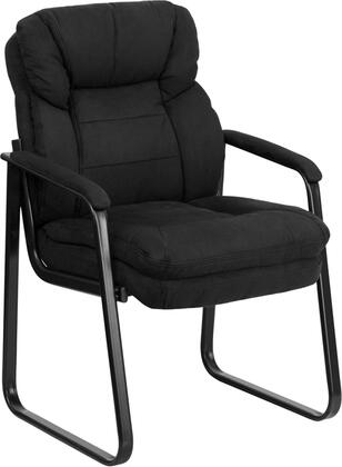 GO-1156-BK-GG Black Microfiber Executive Side Chair with Sled