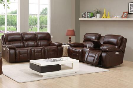 Wesminster II Collection Top Grain Leather Power Reclining Sofa and Loveseat Set with Power Headrest in Brown