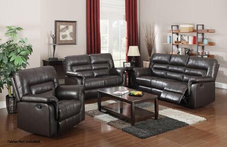 Neon 50840SLR 3 PC Living Room Set with Sofa + Loveseat + Recliner in Dark Brown