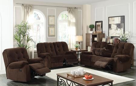 Nailah 51145SLR 3 PC Living Room Set with Sofa + Loveseat + Recliner in Chocolate Champion