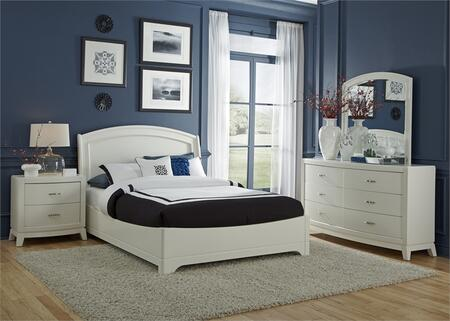 Avalon II Collection 205-BR-KPLDMN 4-Piece Bedroom Set with King Platform Bed  Dresser  Mirror and Night Stand in White Truffle