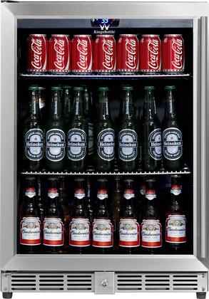 KBU-50B-SS  24 inch  Beverage Center with 5.37 cu. ft.Can Capacity  Temperature Alarm  Automatic Defrost  Security Lock  Left Hinge and Tempered Reversible Glass