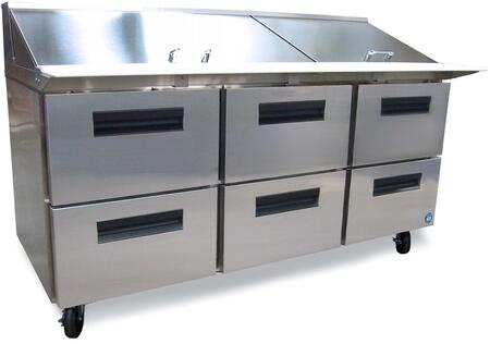 """CRMR72-30MD6 72"""""""" Commercial Series Mega Top Sandwich Refrigerator with 6 Drawers  19.7 cu. ft. Capacity  Stainless Steel Exterior  Anodized Aluminum Interior"""" 701396"""