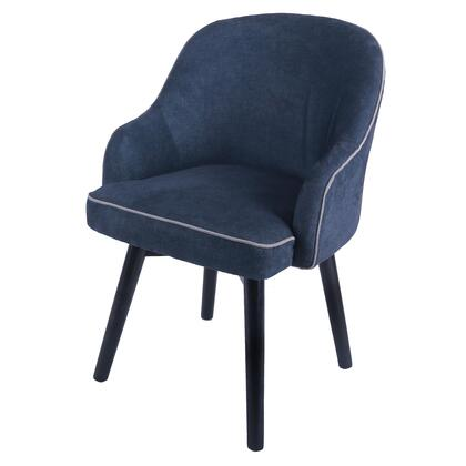Terry Collection 1900086-157 Chair with 360 Degree Swivel and Fabric Upholstery in Denim Slate