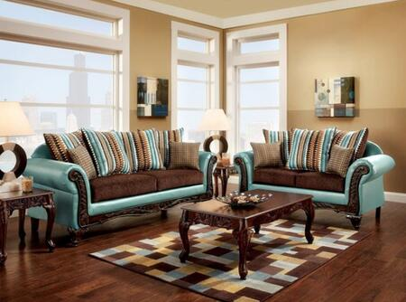 Mulligan Collection SM7610-SL 2-Piece Living Room Set with Stationary Sofa and Loveseat in Teal and Dark
