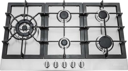 """950SLTX-E 34"""" Gas Cooktop with 5 Sealed Burners  Cast Iron Grates  Electronic Ignition  Flame Failure Safety Device and Easy-to-Clean Construction in Stainless"""