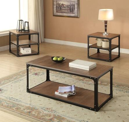 Kenton 80450CE 3 PC Living Room Table Set with Coffee Table + 2 End Tables in Oak