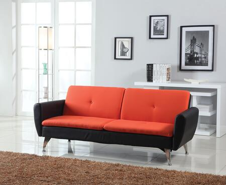 Kimber Collection 57130 76 inch  Adjustable Sofa with Tapered Metal Legs  Button Tufted Cushions  Bycast PU Leather and Linen Upholstery in Orange and Black