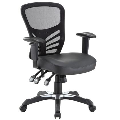 Articulate Collection EEI-755-BLK Office Chair with Adjustable Height  Adjustable Armrests  Tension Tilt Lock  Sponge Seat Cushion  Mesh Back and Vinyl
