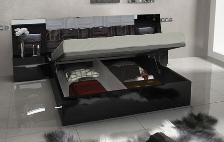 Marbella Collection i11304i11305 Queen Size Storage Bed with Wooden Slat Frame and Storage Platform in