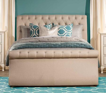 Hunter 2005BKR King Sized Bed with Headboard  Footboard and Rails in Linen Sandstone