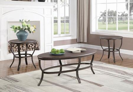 722421 3-Piece Living Room Table Set with Coffee Table  2 End Tables  PVC Table Tops and Cabriole Style Legs in