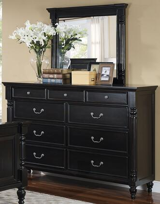 00-222-050-00-222-060 Martinique 64 inch  Dresser with Mirror  Carved Detailing  Decorative Hardware  and Turned Legs  in