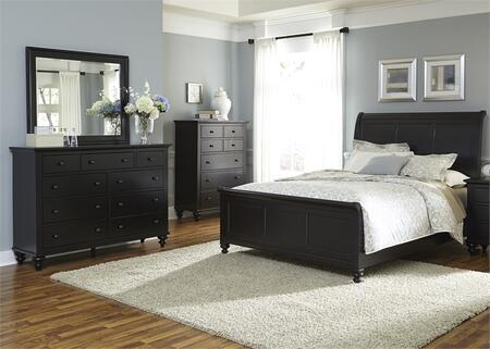 Hamilton III Collection 441-BR-KSLDMC 4-Piece Bedroom Set with King Sleigh Bed  Dresser  Mirror and Chest in Black