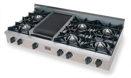 TPN-048-7 48 inch  Open Burner Pro-Style LP Gas Rangetop With 6 Open Burners  Vari-Flame Simmer on Front Burners  Double Sided Grill/Griddle  Electronic Ignition