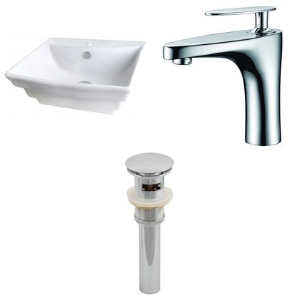 AI-15363 19.75-in. Width x 17-in. Diameter Rectangle Vessel Set In White Color With Single Hole CUPC Faucet And