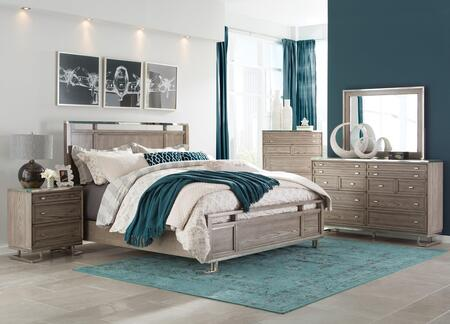 Johnathan Collection 205191QSET 5 PC Bedroom Set with Queen Size Panel Bed + Dresser + Mirror + Chest + Nightstand in Shell