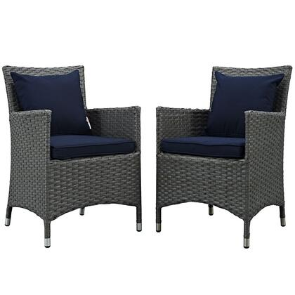 Sojourn Collection EEI-2242-CHC-NAV-SET 2-Piece Outdoor Patio Sunbrella Dining Set with 2 Armchairs Canvas