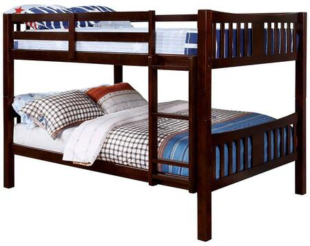 Cameron Collection CM-BK929F-EX-BED Full Size Bunk Bed with 10 PC Slats Top/Bottom  Front Access Fixed Ladder  Solid Wood and Wood Veneer Construction in Dark
