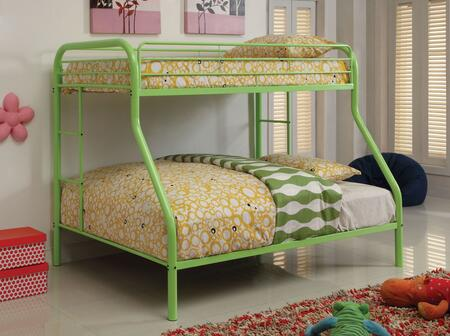Rainbow Collection CM-BK1033-AG-BED Twin Over Full Size Bunk Bed with Both Sides Attached Ladder  Improved Rail Reinforcement and Metal Construction in Green